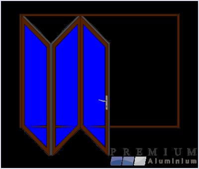 Aluminium Sliding Folding Stacking Door 3 Panel Bronze Left