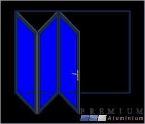 Aluminium Sliding Folding Stacking Door 3 Panel Charcoal Left