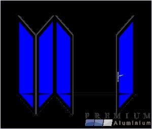 Aluminium Sliding Folding Stacking Door 4 Panel Black Left