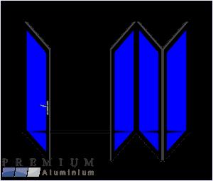 Aluminium Sliding Folding Stacking Door 4 Panel Black Right