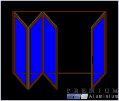 Aluminium Sliding Folding Stacking Door 4 Panel Bronze Left