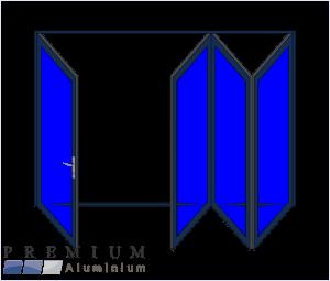 Aluminium Sliding Folding Stacking Door 4 Panel Charcoal Right