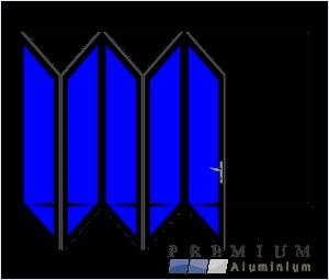 Aluminium Sliding Folding Stacking Door 5 Panel Black Left