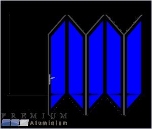 Aluminium Sliding Folding Stacking Door 5 Panel Black Right