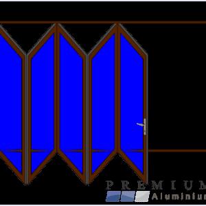 Aluminium Sliding Folding Stacking Door 5 Panel Bronze Left
