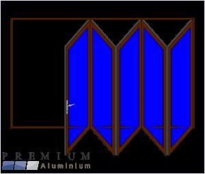 Aluminium Sliding Folding Stacking Door 5 Panel Bronze Right