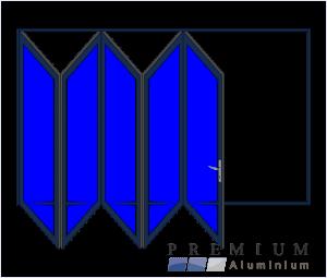 Aluminium Sliding Folding Stacking Door 5 Panel Charcoal Left