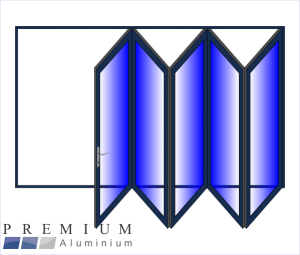 Aluminium Sliding Folding Stacking Door 5 Panel Charcoal Right