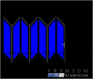 Aluminium Sliding Folding Stacking Door 7 Panel Black Left