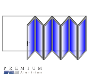Aluminium Sliding Folding Stacking Door 7 Panel Natural Right