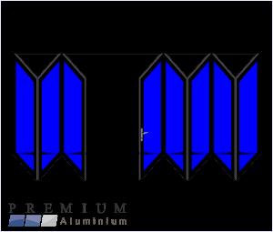 Aluminium Sliding Folding Stacking Door 8 Panel Black Right